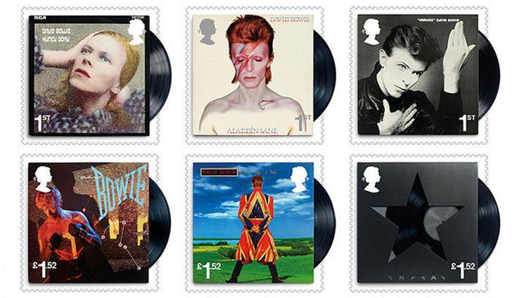 Six timbres de la série éditée par la Royal Mail en l'honneur de David Bowie.