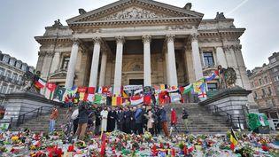 Place de la Bourse à Bruxelles, le 1er avril 2016,des représentants de la communauté musulmane belge et français, ainsi que le Grand Rabbin de Bruxelles (DENIS CLOSON / ISOPIX / SIPA)