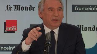 François Bayrou, haut-commissaire au Plan, président du Modem et maire de Pau, est l'invité de Questions politiques dimanche 14 mars 2021. (RADIOFRANCE)