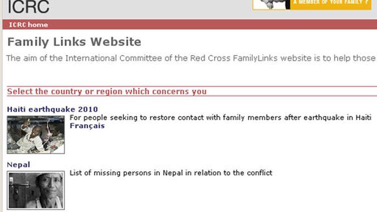 """La page d'accueil de """"Famili Links Website"""" mis en place par La Croix-Rouge internationale"""