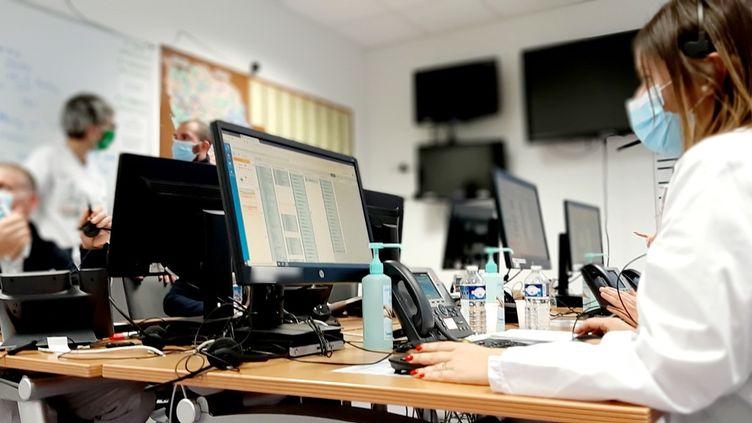Le centre d'appel du centre hospitalierde Metz-Thionville, le 14 janvier 2021. (VALENTIN DUNATE / RADIO FRANCE)