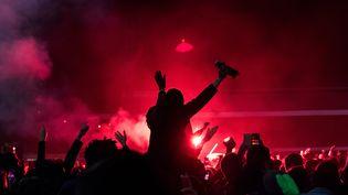 Des supporters du Stade rennais, le 27 avril 2019 à Rennes (Ille-et-Vilaine). (MAUD DUPUY / HANS LUCAS / AFP)