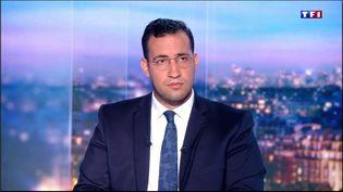 Alexandre Benalla sur le plateau du journal de 20 heures de TF1, le 27 juillet 2018. (TF1)