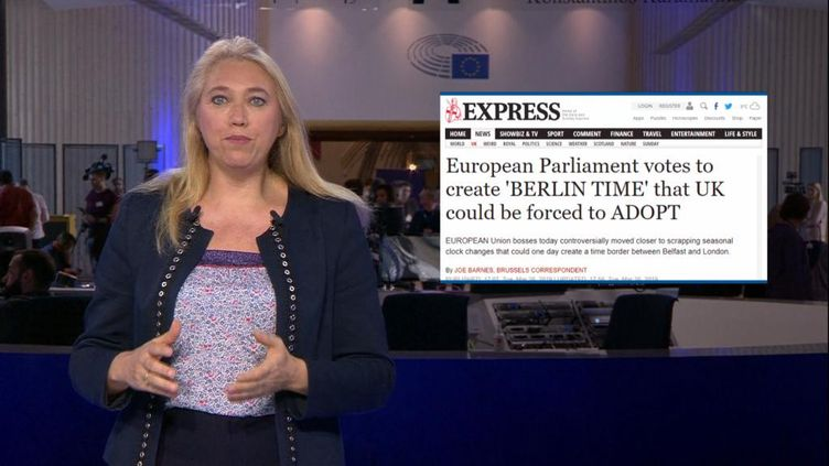 Contre-faits. C'est ce qu'affirmait le tabloïd anglais « Daily Express » le 26 Mars dernier expliquant que « le Parlement européen [avait voté] en faveur de la création d'une « heure de Berlin » et que le Royaume-Uni pourrait être « forcé de l'adopter ». Une fausse information qui fait écho à un vrai vote. Décryptage. (FRANCE 24)