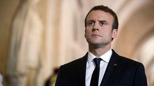 Emmanuel Macron, le 3 juillet 2017 au château de Versailles, à l'occasion de la réunion du Congrès. (ETIENNE LAURENT / AFP)