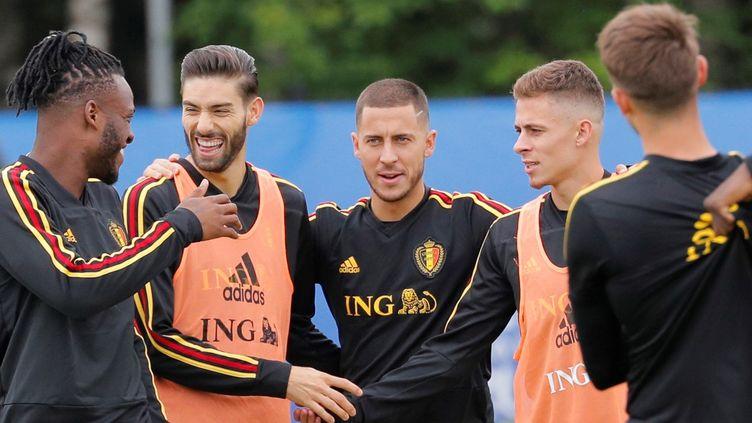 Les joueurs belges à l'entraînement, le 9 juillet 2018, en marge de la demi-finale de la Coupe du monde face à l'équipe de France. (LAVANDEIRA JR / EFE / MAXPPP)