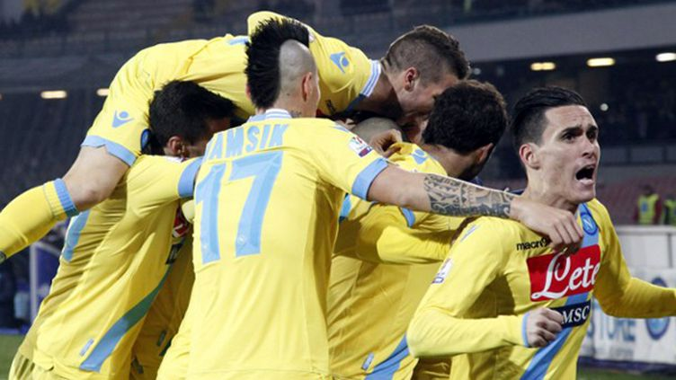 Les Napolitains, sous les yeux de Maradona, n'ont fait qu'une bouchée de la Roma; (CARLO HERMANN / AFP)
