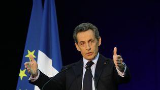 Nicolas Sarkozy, candidat à la présidence de l'UMP, en meeting à Boulogne-Billancourt (Hauts-de-Seine), le 25 novembre 2014. (CITIZENSIDE / FRANÇOIS LOOCK / AFP)