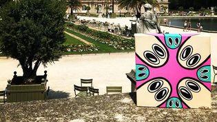 Le 81e tableau de Mate, déposé le 7 juillet 2018 dans le Jardin du Luxembourg à Paris (6e) dans le cadre du projet Line-street.  (Line-street / mate)