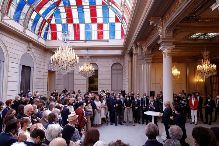 Inauguration dePavoisé, travail de l'artiste Buren au Palais de l'Elysée à Paris, le 13 septembre 2021 (GONZALO FUENTES / POOL)