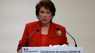 La ministre de la Culture Roselyne Bachelot lors d'une conférence de presse du gouvernement au sujet de la situation épidémique, le 14 janvier 2021, à Paris. (THOMAS COEX / AFP)