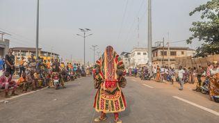 A Porto-Novo, un danseur a revêtu le costume des revenants appelés Egungun lors du traditionnel défilé du 10 janvier célébrant la culture vodoun.  (YANICK FOLLY / AFP)