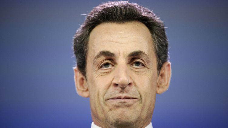 Le président candidat lors d'une rencontre avec des entrepreneurs à Paris, le 13 mars 2012. (LIONEL BONAVENTURE / AFP)