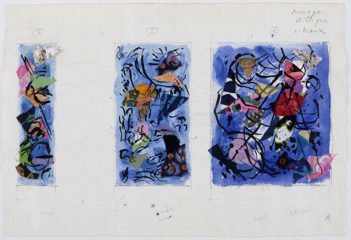 """Marc Chagall, """"Message Biblique, la Création du monde : le septième jour, le cinquième et le sixième jour, les quatre premiers jours"""", deuxième étude pour les vitraux des trois fenêtres, 1971. Paris, Centre Pompidou, Musée national d'art moderne. En dépôt au musée national Marc Chagall, Nice (© Adagp, Paris 2020. Photo © RMN-Grand Palais (musée Marc Chagall) / Gérard Blot)"""