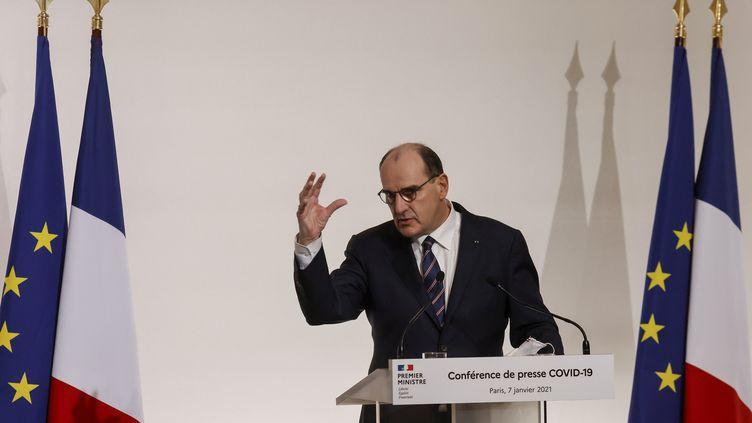 Le Premier ministre Jean Castex lors d'une conférence de presse sur la stratégie contre le Covid-19, à Paris (France) le 7 janvier 2021 (LUDOVIC MARIN / AFP)