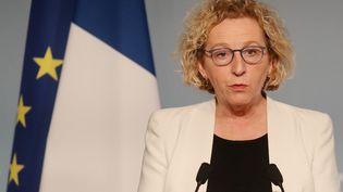 La ministre du Travail, Muriel Pénicaud,lors d'une conférence de presse, à l'Elysée, à Paris, le 1er avril 2020. (LUDOVIC MARIN / AFP)