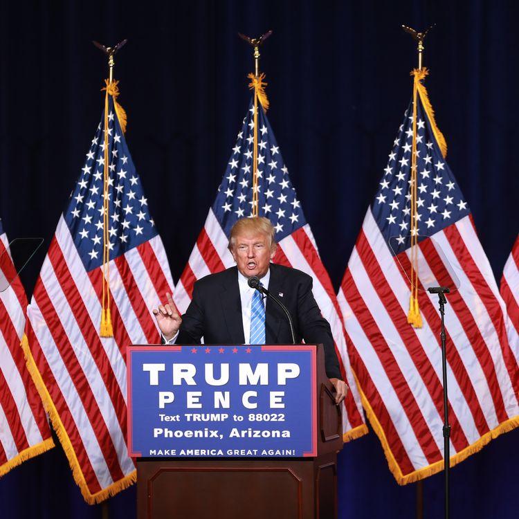 Le candidat républicain à la Maison Blanche, Donald Trump, tient un discours à Phoenix (Arizona, Etats-Unis), le 31 août 2016. (DAVID CRUZ / DIGITAL / AFP)