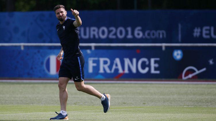 Olivier Giroud, le 6 juin 2016 à Clairefontaine (Yvelines). (MAXPPP)
