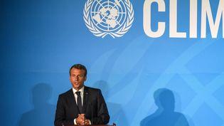 Emmanuel Macron s'exprimeà l'ONU, le 23 septembre 2019 à New York. (STEPHANIE KEITH / GETTY IMAGES NORTH AMERICA / AFP)