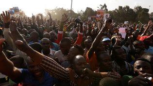 Des supporters du leader de l'opposition Raila Odinga célèbrentsa candidature à l'élection présidentielle du Kenya, le 7 juillet 2017, à Nairobi. (THOMAS MUKOYA / REUTERS)