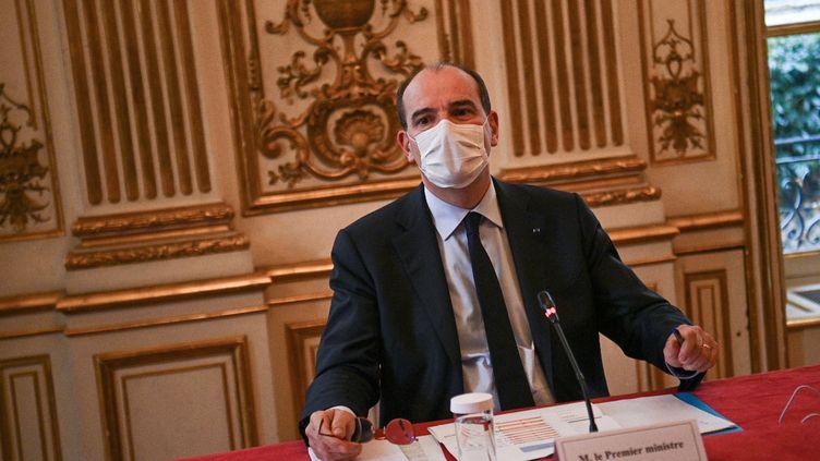 Le Premier ministre, Jean Castex, le 10 mai 2021 à Matignon, à Paris. (CHRISTOPHE ARCHAMBAULT / AFP)
