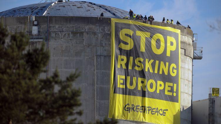 Des militants écologistes de Greenpeace sur le toit d'un des réacteurs de la centrale nucléaire de Fessenheim (Haut-Rhin), le 18 mars 2014. (SEBASTIEN BOZON / AFP)