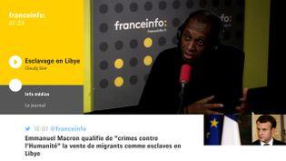 Claudy Siar, du Collectif contre l'esclavage en Libye, le 23 novembre 2017. (FRANCEINFO)