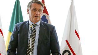 Le président brésilien, Jair Bolsonaro, lors d'une rencontre avec la fédération de l'industrie de Sao Paulo, le 3 février 2020 à Sao Paulo (Brésil). (MIGUEL SCHINCARIOL / AFP)