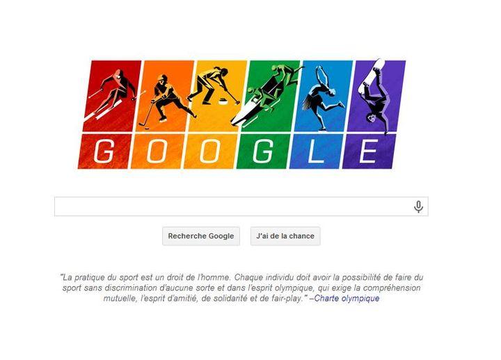 Le logo de Google s'est mis aux couleurs du drapeau homosexuel, le 7 février 2014, jour de l'ouverture des JO de Sotchi. (GOOGLE / FRANCETV INFO)