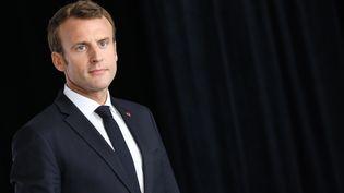 Emmanuel Macron lors d'une visite à Quimper (Finistère), le 21 juin 2018. (LUDOVIC MARIN / AFP)