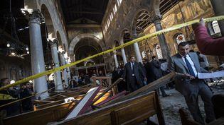 Un attentat a fait au moins 25 morts dans l'église Saint-Pierre et Saint-Paul du Caire (Égypte). (KHALED DESOUKI / AFP)