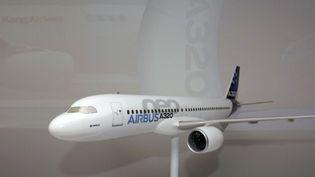 Une maquette de l'Airbus A320 Neo exposé, l'avion vedette du salon du Bourget 2011 (AFP/ERIC PIERMONT)