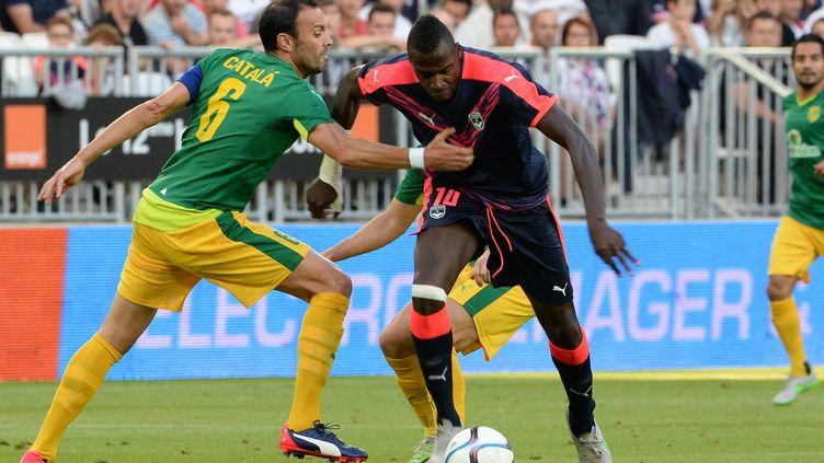 Cheick Diabaté lors de la réception de l'AEK Larnaca au 3e tour préliminaire aller de Ligue Europa. (MEHDI FEDOUACH / AFP)