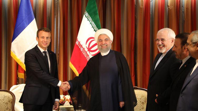 Rencontre entre Emmanuel Macron et le président iranien Hassan Rohani, en marge de l'Assemblée générale de l'ONU, le 18 septembre 2017. (LUDOVIC MARIN / AFP)