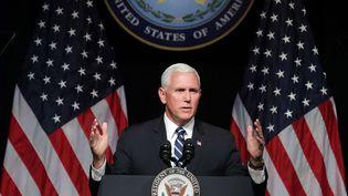 """Le vice-président américain Mike Pence a annoncé, le 9 août 2018 au Pentagone, la création d'une """"Force de l'espace"""". (CHIP SOMODEVILLA / GETTY IMAGES NORTH AMERICA / AFP)"""