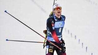 Sturla Laegreid, vainqueur de la poursuite à Ostersund, remporte le petit globe de la spécialité, samedi 20 mars 2021. (ANDERS WIKLUND / TT NEWS AGENCY)