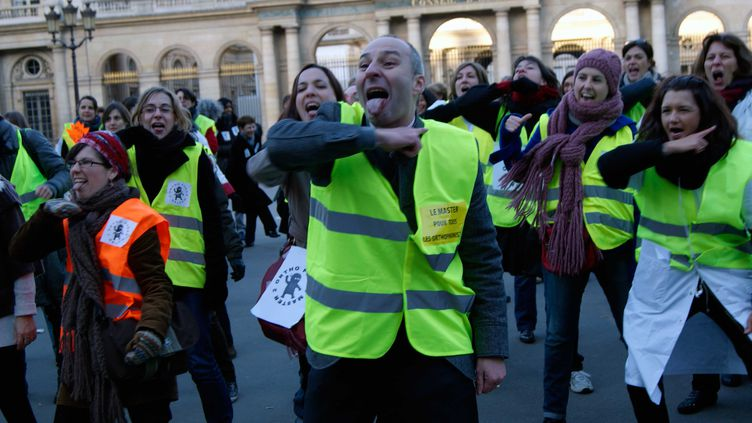 Des orthophonistes manifestent devant le Conseil d'Etat, place du Palais-Royal, à Paris, le 14 janvier 2012. (EMILIE SAJOT)
