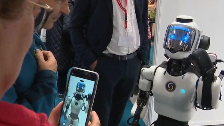 Un robot humanoïde exposé au MIF Expo, le salon du made in France, à Paris. (FRANCE 3)