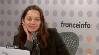 L'actrice et productrice Marion Cotillard était l'invitée de franceinfo mercredi 22 septembre. (CAPTURE ECRAN / FRANCEINFO)
