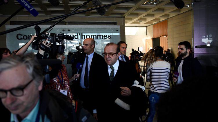 Les avocats de Laura Smet au tribunal de Nanterre, le 29 mars 2019. (MARTIN BUREAU / AFP)