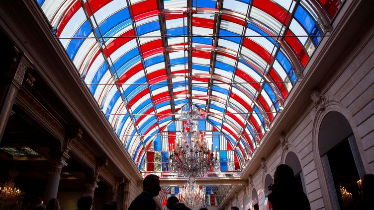 Inauguration de Pavoisé, travail de l'artiste Buren au Palais de l'Elysée à Paris, le 13 septembre 2021 (GONZALO FUENTES / POOL)