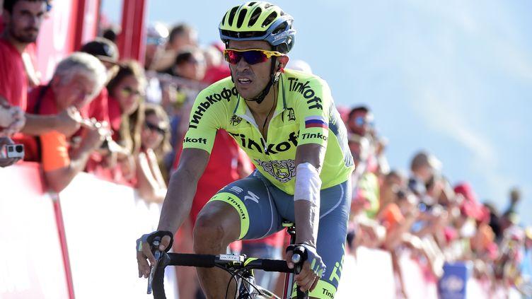 Alberto Contador, encore sous le maillot de la Tinkoff avant de rejoindre Trek la saison prochaine (JOSE JORDAN / AFP)