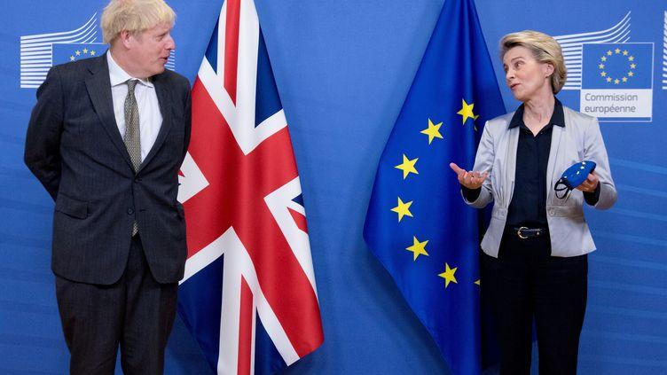 Le Premier ministre britannique, Boris Johnson, et la présidente de la Commission européenne, Ursula von der Leyen, lors d'une rencontre à Bruxelles, le 9 décembre 2020. (COMMISSION EUROPEENNE / AFP)