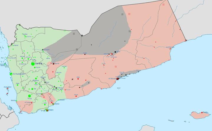 En vert, les zones contrôlées par les houthis et en rouge, celles contrôlées par le groupe terroriste Aqpa. (0ALI1 / WIKIMEDIA COMMONS)