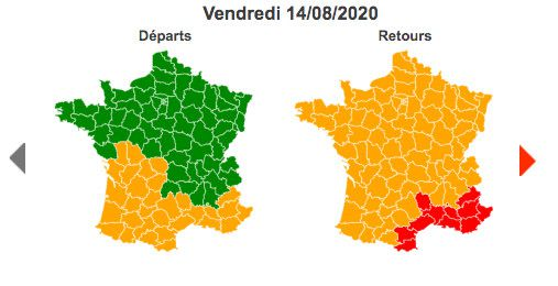 Vendredi 14 août 2020 est classé vert dans le sens des départs au niveau national, orange dans le sens des retours et rouge sur l'arc méditerranéen. ((BISON FUTE))