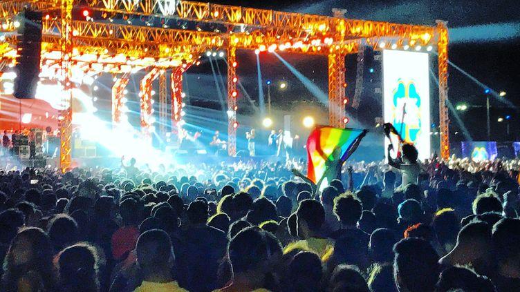 Le drapeau arc-en-ciel, symbole de la communauté LGBGT, au concert du groupe pop Mashrou' Leila, au Caire, le 22 septembre 2017. (BENNO SCHWINGHAMMER / DPA)