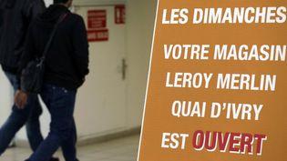 Des clients entrent dans un magasin Leroy Merlin ouvert dimanche 29 septembre 2013, à Ivry-sur-Seine (Val-de-Marne), en dépit d'une décision de justice ordonnant une fermeture dominicale. (KENZO TRIBOUILLARD / AFP)
