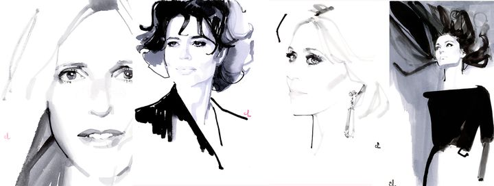 Sandrine Kiberlain, Fanny Ardant, Jane Fonda et Anouk Aimé croquées par l'illustrateur Marc Antoine Coulon (Marc Antoine Coulon)