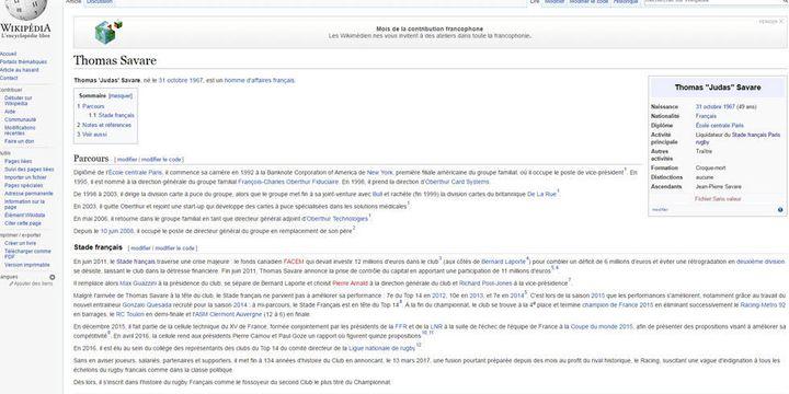 La fiche wikipédia de Thomas Savare revisitée par des supporters du Stade Français mécontents de l'annonce de la fusion avec le Racing 92