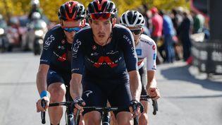 Rohan Dennis (Ineos-Grenadiers) a remporté le prologue du Tour de Romandie, mardi 27 avril 2021. (LUCA BETTINI / AFP)